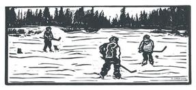 LINDA COTE-Pond Hockey Linocut