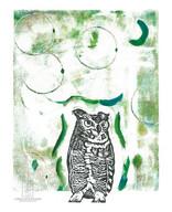 LINDA COTE-Great Horned Owl Gelli Art