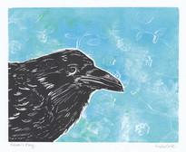 LINDA COTE- Blue Flower Raven Gelli Art
