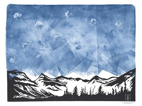 Midnight Mountains Monoprint (c)