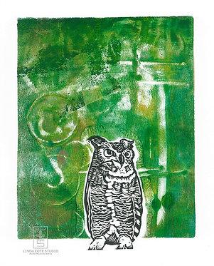 Radiant Owl Monoprint (Green2)