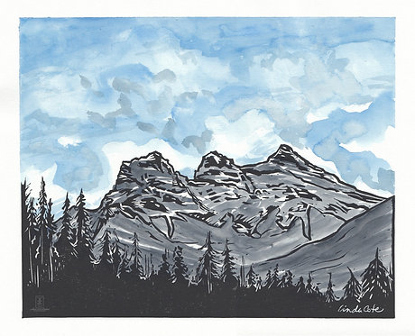 Three Sisters Canmore Watercolor