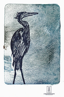 Ancient Heron - Monoprint + Linocut