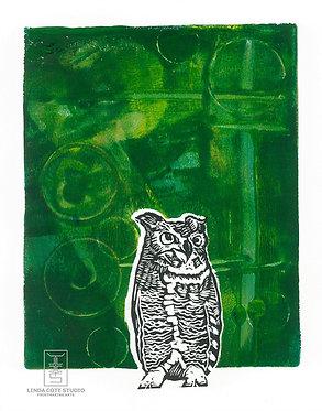 Radiant Owl Monoprint (Green1)