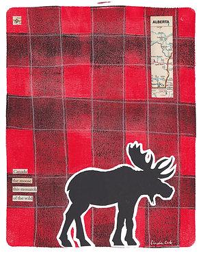 Plaid Moose 1 Mixed Media