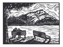 LINDA COTE-Cascade View-Banff Linocut