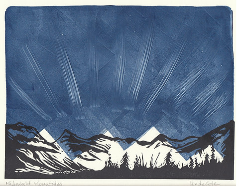 Midnight Mountains Monoprint (a)