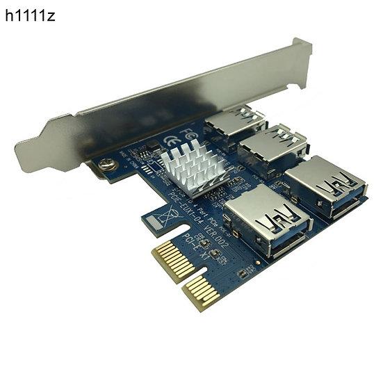 PCI-E to PCI-E Adapter 1 Turn 4 PCI-Express Slot 1x to 16x USB 3.0 Mining Riser
