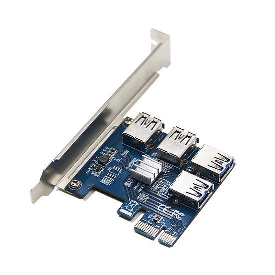 PCI-E to PCI-E Adapter 1 Turn 4 PCI-Express Slot 1x to 16x USB 3.0