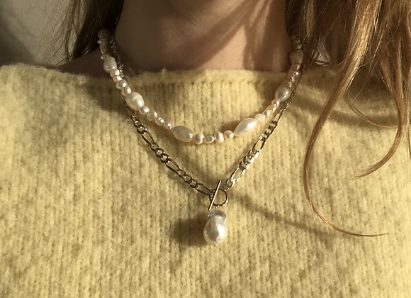 Chunky Chain with Pearl - Silver