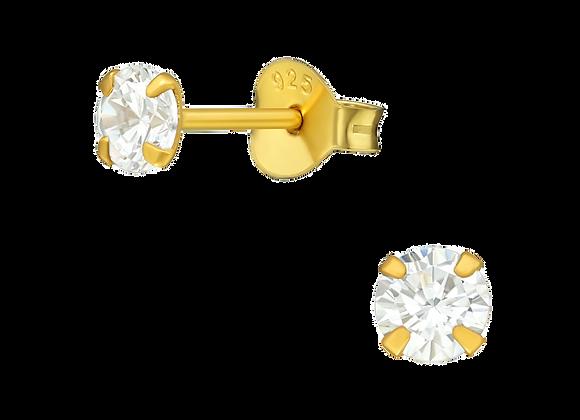 round diamond 3 mm - gold plated