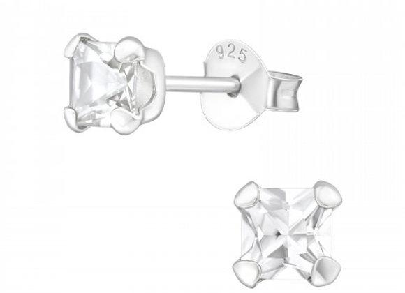 square diamond 4mm - sterling silver