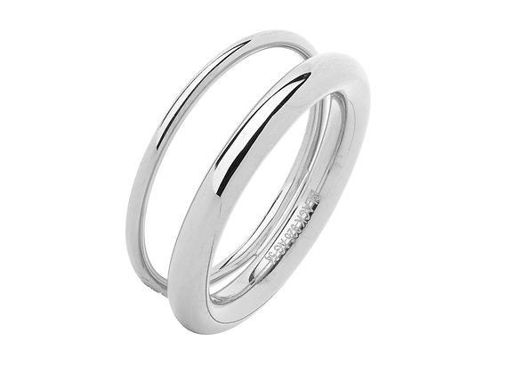 offset v ring - sterling silver