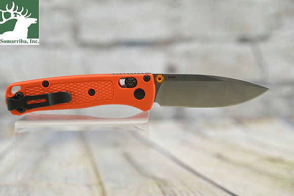 "BENCHMADE KNIFE 533 MINI BUGOUT 2.82"" STEEL  BLADE ORANGE GRIVORY HANDLE"