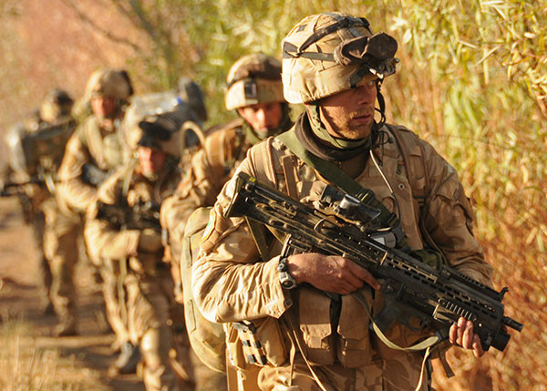 Christmas Day 2008. Patrol in Helmand, Afghanistan. I'm the fourth man, carrying the Javelin missile.