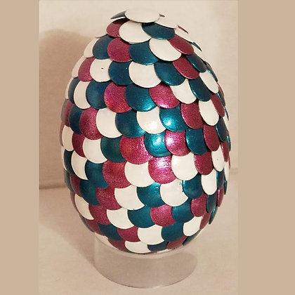 White Teal Burgundy 2.75 inch Dragon Egg