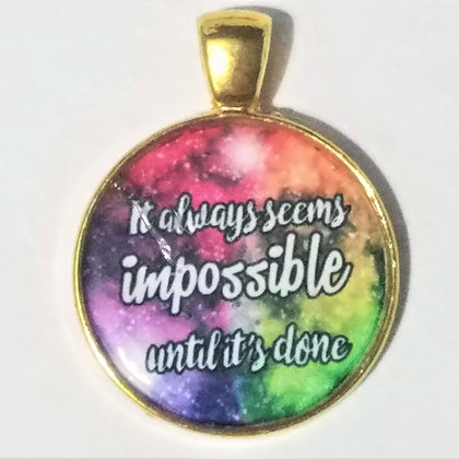 Gold Toned Seems Impossible Quote Pendant with Black Cord Necklace