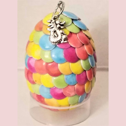 Multicolored Rainbow 2 inch Dragon Egg with Charm