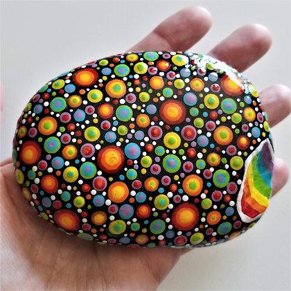 Handpainted Dotted Rainbow Northeast  Stone