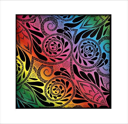 """Whimsical Foliage"" Rainbow Scratch Art"