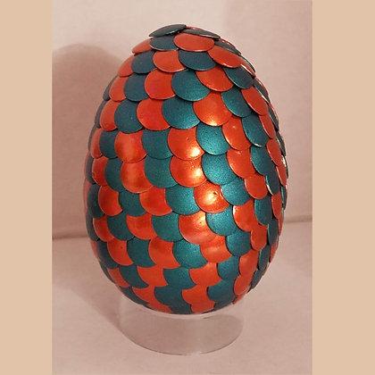 Orange Teal Blue 2.75 inch Dragon Egg