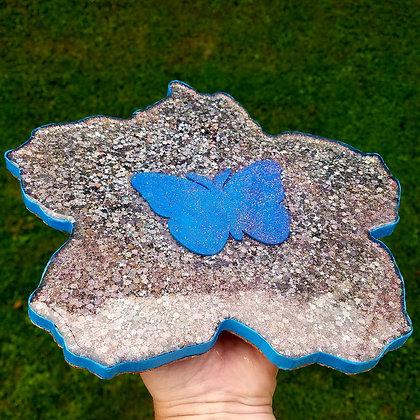 """Sparkling Glitter 9.75"""" Butterfly Lotus Resin Trivet"""