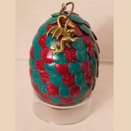 Red Blue 2 inch Dragon Egg with Charm