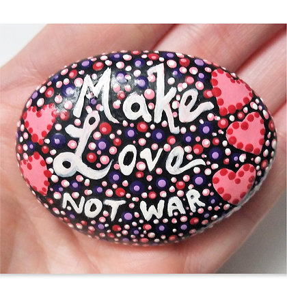 Handpainted Dotted Make Love Not War Heart Washington Stone