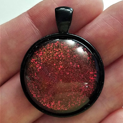 Red Glitter Black Pendant with Cord Necklace