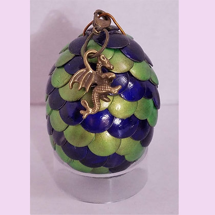 Green Blue 2 inch Dragon Egg with Charm
