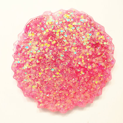 Pink Holographic Sparkling Resin Coaster