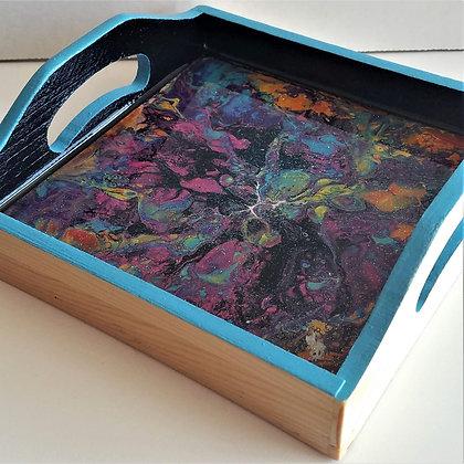 "6""x6"" Black Blue Purple Resin Tray"