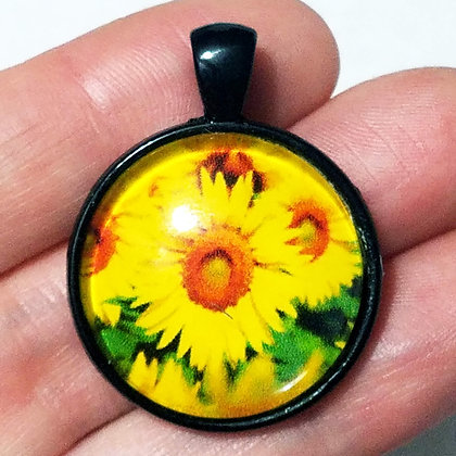 Flower Floral Black Pendant with Cord Necklace