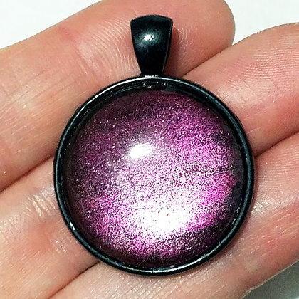 Purple Sparkling Black Pendant with Cord Necklace