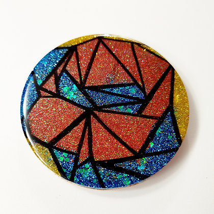 """Small """"Stained Glass-look"""" Sparkling Glitter Resin Coaster"""