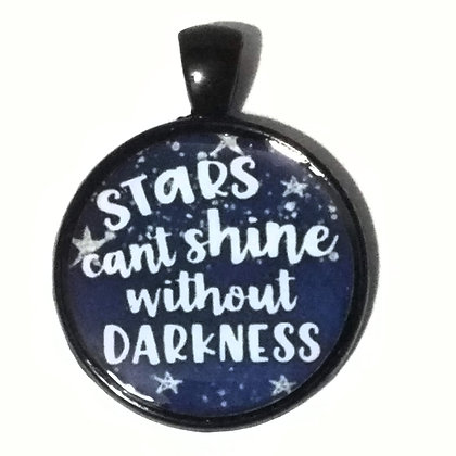 Stars Shine in Darkness Quote Black Pendant with Cord Necklace