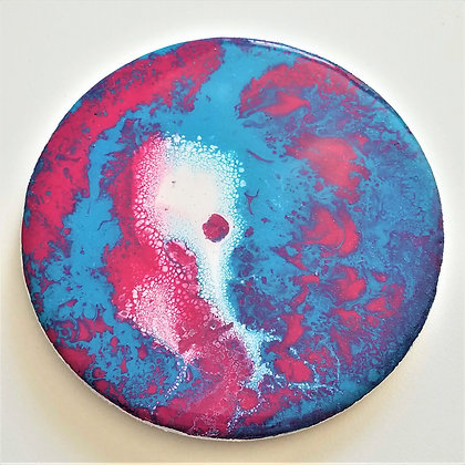 Handpainted Pour Painting Pink Blue Resin Coaster