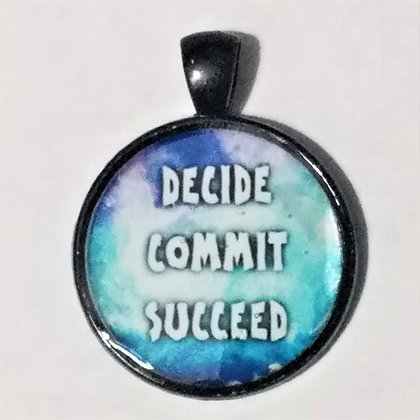 Decide Commit Succeed Quote Black Pendant with Cord Necklace