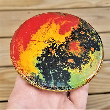 Handpainted Pour Painting Rainbow Colorful Resin Coaster