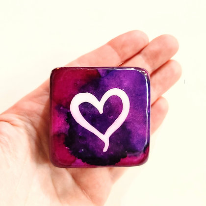 Handpainted Purple Alcohol Ink Heart Santorini Stone