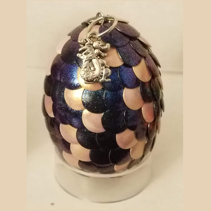 Blue Peach Colorshift 2 inch Dragon Egg with Charm