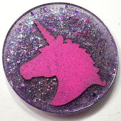 Sparkling Glitter Glitter Deep Pink Unicorn Round Resin Coaster