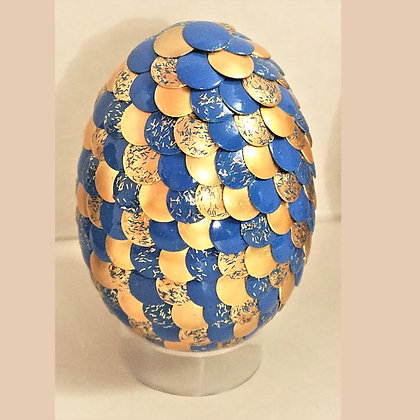 Blue Yellow Gold Glitter 2.75 inch Dragon Egg