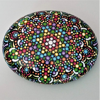Large Handpainted Detailed Colorful Rainbow Dotted Northeast Stone