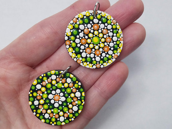 Set of 2 Wooden Handpainted Mandala Pendants with Necklace Cords
