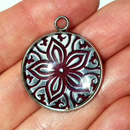 Metallic Design Necklace Pendant with Black Cord Necklace