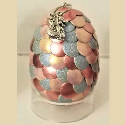 Pink Silver 2 inch Dragon Egg with Charm