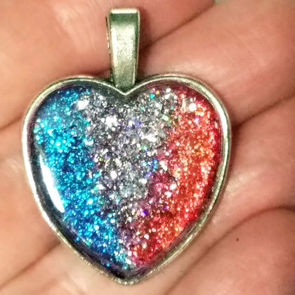 Blue Silver Red Glitter Heart Shaped Necklace Pendant with Chain