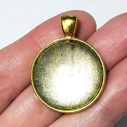 Gold Toned Shimmering Goldish Yellow Pendant with Black Cord Necklace