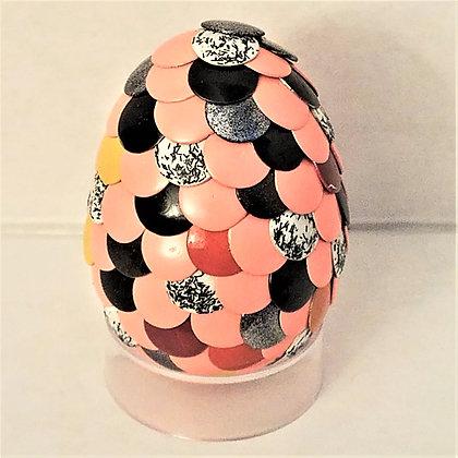 Peach Orange Black Multicolored 2 inch Dragon Egg